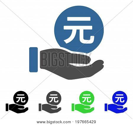 Yuan Coin Payment Hand flat vector illustration. Colored yuan coin payment hand gray, black, blue, green pictogram variants. Flat icon style for graphic design.