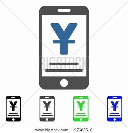 Yuan Mobile Payment flat vector pictogram. Colored yuan mobile payment gray, black, blue, green icon variants. Flat icon style for graphic design.