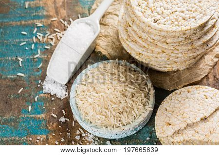 Healthy Puffed Rice Cakes Crackers Stacked With Sea Salt