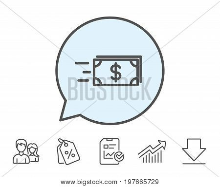 Transfer Cash money line icon. Banking currency sign. Dollar or USD symbol. Report, Sale Coupons and Chart line signs. Download, Group icons. Editable stroke. Vector