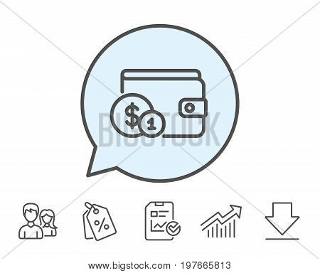 Wallet with Cash money line icon. Dollar currency sign. Payment method symbol. Report, Sale Coupons and Chart line signs. Download, Group icons. Editable stroke. Vector