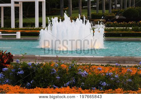 Honolulu Hawaii - May 27 2016: Fountain in the grounds of the Laie Hawaii Temple. Laie Hawaii Temple is a temple of The Church of Jesus Christ of Latter-day Saints located on the northeast shore of the Hawaiian island of Oʻahu.