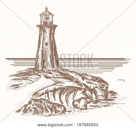 Lighthouse hand drawn sketch. Lighthouse on rocky shore of sea drawing