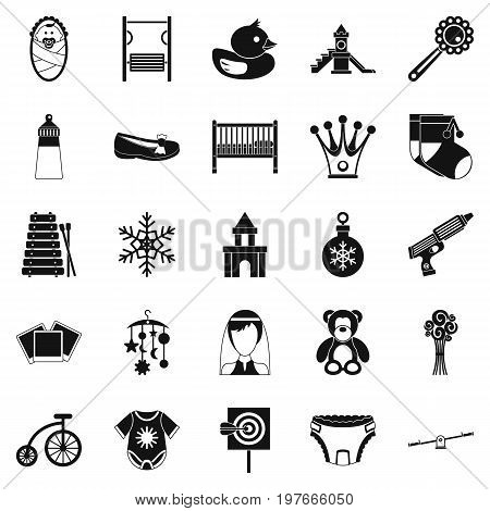 Nursery icons set. Simple set of 25 nursery vector icons for web isolated on white background