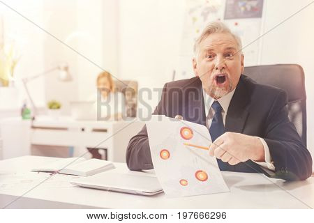 Major error. Stressed emotional middle aged man emotionally pointing out a major blunder his employee doing while perusing the report on sales