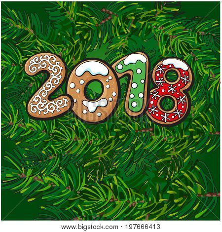 2018 Merry Christmas, New Year greeting card design with gingerbread cookies on fir tree branches background and space for text. Christmas, New Year greeting banner with fir tree branches