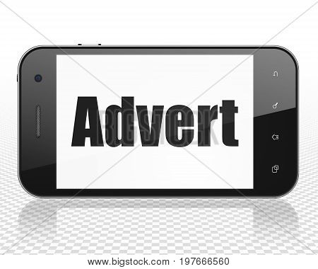 Advertising concept: Smartphone with black text Advert on display, 3D rendering
