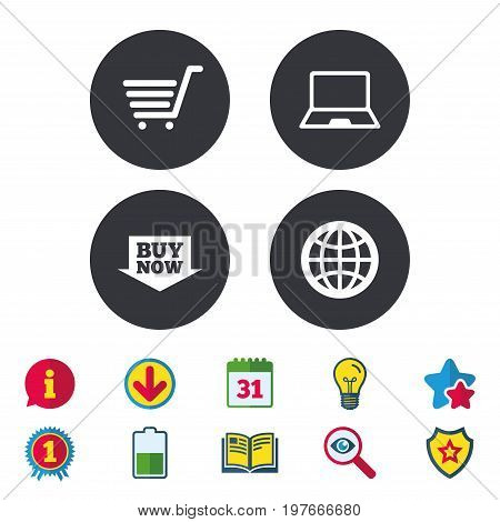 Online shopping icons. Notebook pc, shopping cart, buy now arrow and internet signs. WWW globe symbol. Calendar, Information and Download signs. Stars, Award and Book icons. Vector