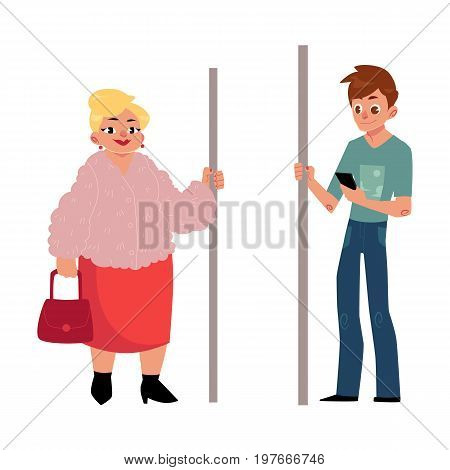 Two antipode subway passengers - plump woman, housewife and young man with smartphone, cartoon vector illustration isolated on white background. Passengers standing in subway, fat woman and young man