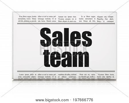 Advertising concept: newspaper headline Sales Team on White background, 3D rendering