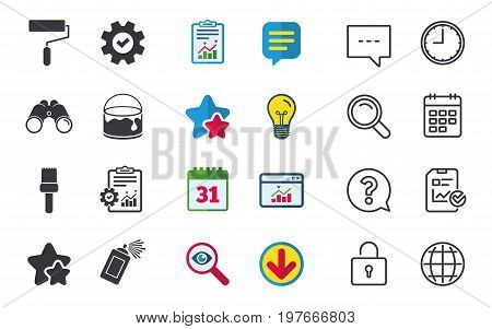 Painting roller, brush icons. Spray can and Bucket of paint signs. Wall repair tool and painting symbol. Chat, Report and Calendar signs. Stars, Statistics and Download icons. Vector