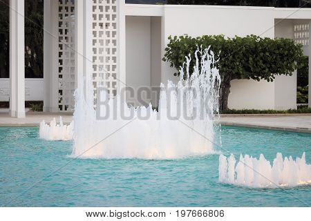 Honolulu Hawaii - May 27 2016:Fountain in the grounds of the Laie Hawaii Temple. Laie Hawaii Temple is a temple of The Church of Jesus Christ of Latter-day Saints located on the northeast shore of the Hawaiian island of Oʻahu.