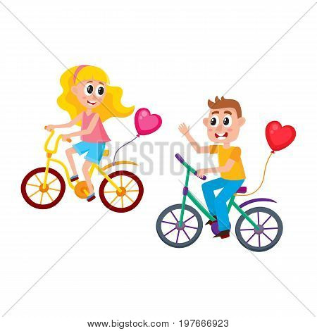 Boy and girl dating, riding bicycles together, starting romantic relationships, cartoon vector illustration isolated on white background. Couple riding bicycles, dating, boy greeting girl, waving hand
