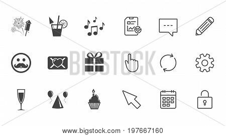 Party celebration, birthday icons. Musical notes, air balloon and champagne glass signs. Gift box, fireworks and cocktail symbols. Chat, Report and Calendar line signs. Vector