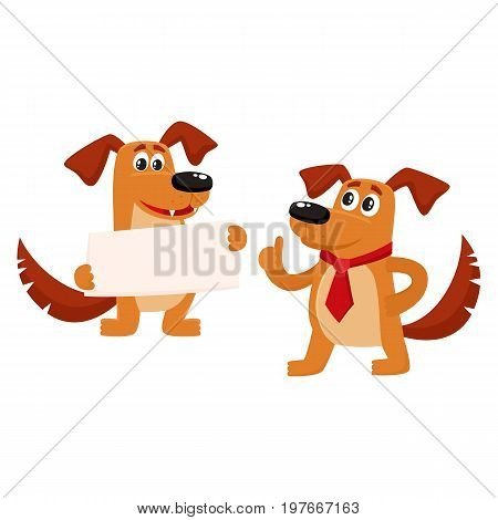 Two funny cute brown dog characters, one holding blank board, another showing thumb up, cartoon vector illustration isolated on white background. Two funny dog, puppy characters