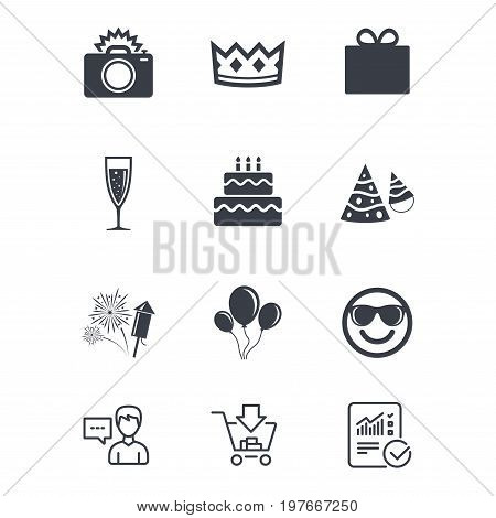 Party celebration, birthday icons. Fireworks, air balloon and champagne glass signs. Gift box, cake and photo camera symbols. Customer service, Shopping cart and Report line signs. Vector