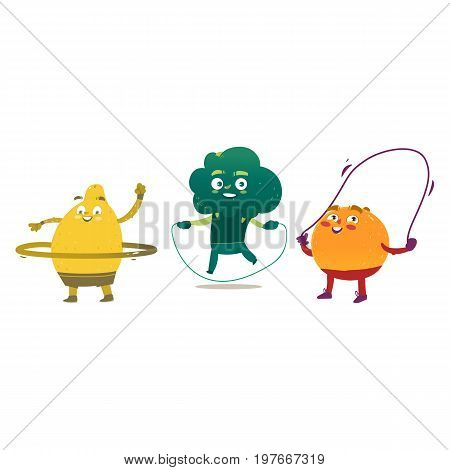 Funny fruit and vegetable characters -lemon, orange and broccoli doing sport exercises, cartoon vector illustration isolated on white background. Funny fruit characters with jumping rope and hula hoop
