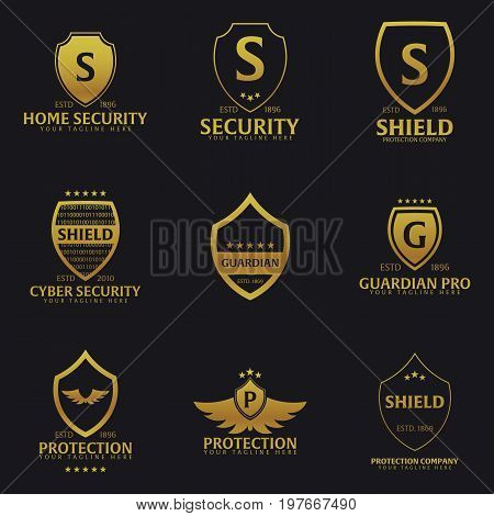 Set Of Shield Logo. Protection Company. Security. Guardian. Vector Illustration.