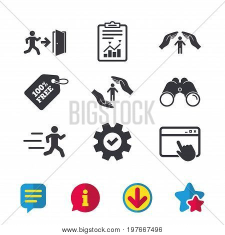 Life insurance hands protection icon. Human running symbol. Emergency exit with arrow sign. Browser window, Report and Service signs. Binoculars, Information and Download icons. Stars and Chat. Vector