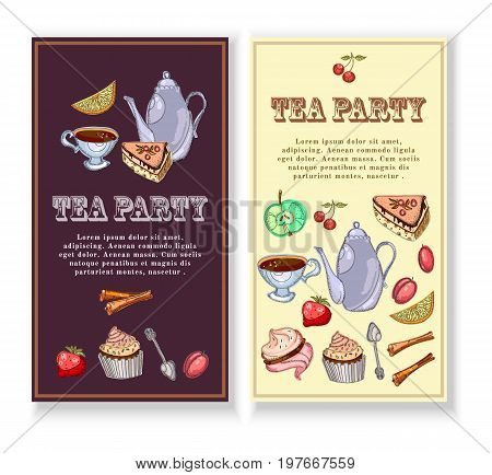 Tea party banners. Design for packaging tea shop drink menu tea time elements