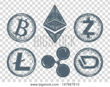 Crypto currency elements icon. Bitcoin Litecoin Etherium Ripple Dash Zcash DigiByte. Blockchain and Cryptocurrency vector