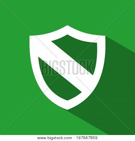 Protection shield icon with shade on green background