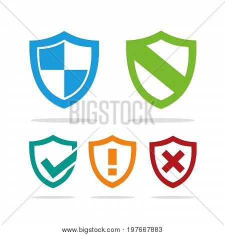 Set of colored protection shield icons on a white background