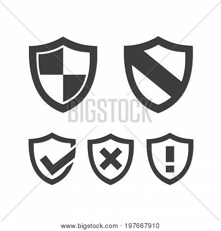 Set of protection shield icons on a white background