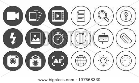 Photo, video icons. Camera, photos and frame signs. Flash, timer and landscape symbols. Document, Globe and Clock line signs. Lamp, Magnifier and Paper clip icons. Question, Credit card and Refresh