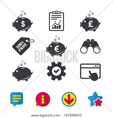 Piggy bank icons. Dollar, Euro and Pound moneybox signs. Cash coin money symbols. Browser window, Report and Service signs. Binoculars, Information and Download icons. Stars and Chat. Vector