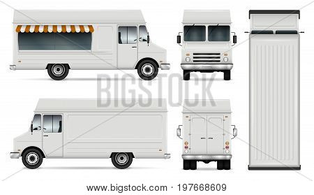 Food truck vector template for car branding and advertising. Isolated delivery van illustration on white. All layers and groups well organized for easy editing. View from side front back top.