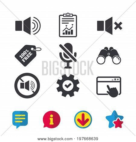 Player control icons. Sound, microphone and mute speaker signs. No sound symbol. Browser window, Report and Service signs. Binoculars, Information and Download icons. Stars and Chat. Vector