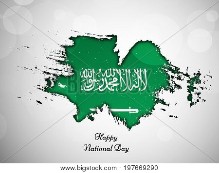 illustration of Saudi Arabia flag texture with Happy National Day text on the occasion of Saudi Arabia National Day