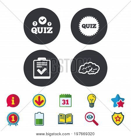 Quiz icons. Human brain think. Checklist symbol. Survey poll or questionnaire feedback form. Questions and answers game sign. Calendar, Information and Download signs. Stars, Award and Book icons