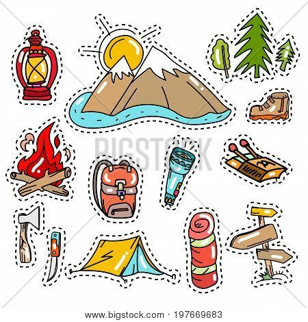 Camping vector elements. Camping stickers pop art style tourism equipment symbols and icons. Mountains tent backpack. Symbols of tourism travel adventure. Camping 80s-90s comic style