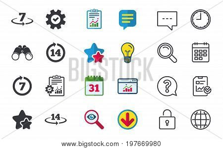 Return of goods within 7 or 14 days icons. Warranty 2 weeks exchange symbols. Chat, Report and Calendar signs. Stars, Statistics and Download icons. Question, Clock and Globe. Vector