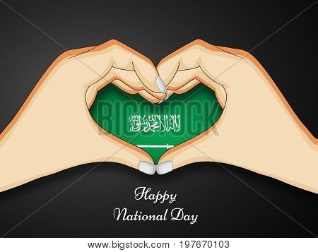 illustration of hands in heart design in Saudi Arabia flag background with Happy National Day text on the occasion of Saudi Arabia National Day
