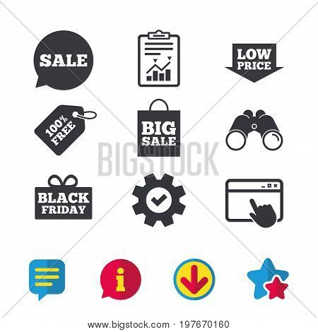 Sale speech bubble icon. Black friday gift box symbol. Big sale shopping bag. Low price arrow sign. Browser window, Report and Service signs. Binoculars, Information and Download icons. Stars and Chat