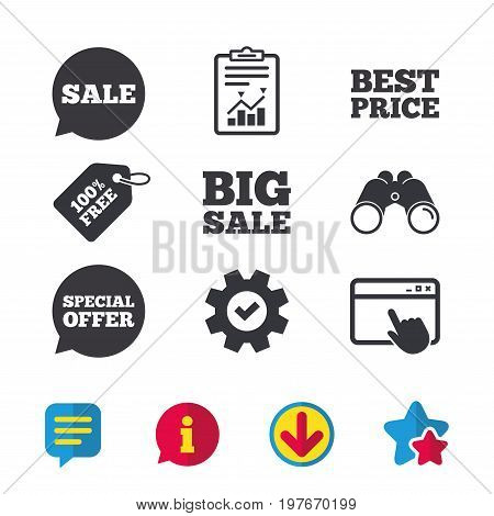 Sale icons. Special offer speech bubbles symbols. Big sale and best price shopping signs. Browser window, Report and Service signs. Binoculars, Information and Download icons. Stars and Chat. Vector
