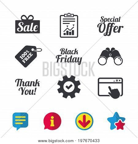 Sale icons. Special offer and thank you symbols. Gift box sign. Browser window, Report and Service signs. Binoculars, Information and Download icons. Stars and Chat. Vector