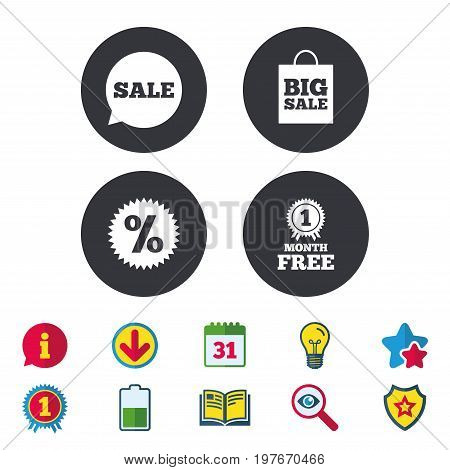 Sale speech bubble icon. Discount star symbol. Big sale shopping bag sign. First month free medal. Calendar, Information and Download signs. Stars, Award and Book icons. Light bulb, Shield and Search