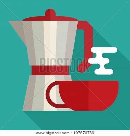 italian coffee maker and cup flat icon
