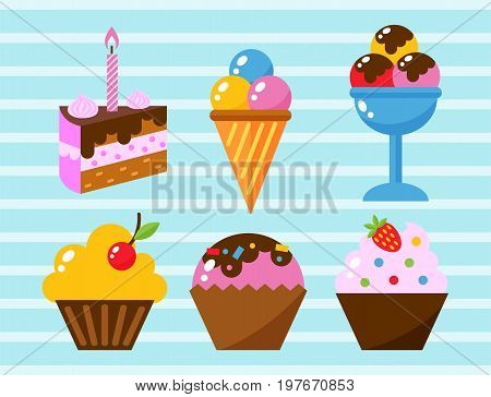 Little delicious cupcakes sweet dessert celebration birthday party food cream sprinkles frosting snack vector illustration. Buttercream chocolate vanilla confectionery.