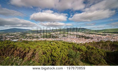 Wide angle view of Angra do Heroismo city in Terceira Island, Azores