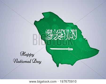 illustration of Saudi Arabia map in Saudi Arabia flag background with Happy National Day text on the occasion of Saudi Arabia National Day