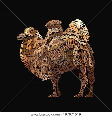 Embroidery camel. Embroidery arabian camel template for clothes textiles t-shirt design
