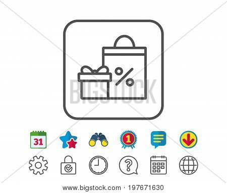 Gift box with Shopping bag line icon. Present or Sale sign. Birthday Shopping with Discounts symbol. Package in Gift Wrap. Calendar, Globe and Chat line signs. Binoculars, Award and Download icons