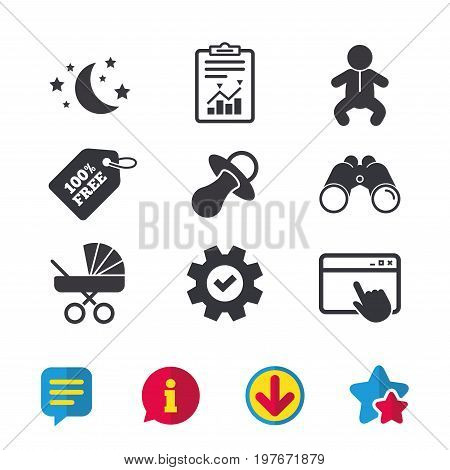 Moon and stars symbol. Baby infants icon. Buggy and dummy signs. Child pacifier and pram stroller. Browser window, Report and Service signs. Binoculars, Information and Download icons. Stars and Chat
