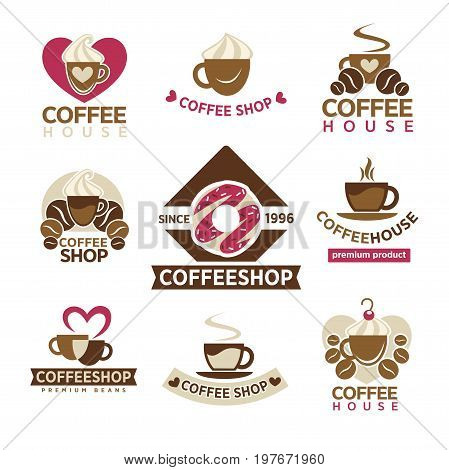 Coffee shop with premium products since 1996 emblems set. Cup of tasty hot drink with lot of cream, fresh organic beans and sweet donut with pink glaze and sprinkles isolated vector illustrations.