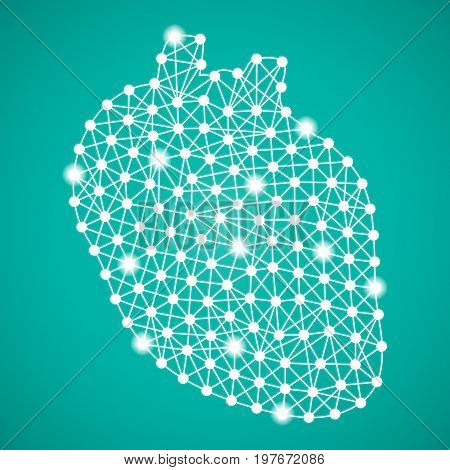 Human Heart Isolated On A Green Background. Vector Illustration.Cardiology. Creative Medical Concept